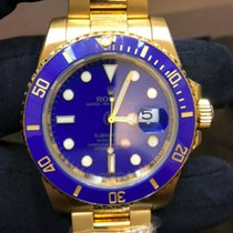 Rolex Submariner Date Žluté zlato 40mm Modrá Bez čísel