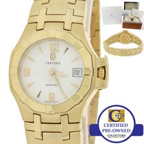 Concord Yellow gold Quartz Silver 25mm pre-owned Saratoga