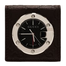 Gucci Steel Quartz Gucci Black Stainless Steel Brow Leather Unisex Alarm Clock new