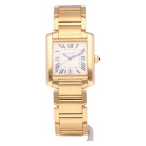 Cartier Tank Française pre-owned 28mm Silver Date Yellow gold