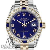 Rolex Lady-Datejust Золото/Cталь 31mm Синий Римские