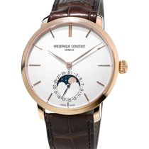Frederique Constant Red gold Automatic Silver 42mm new Manufacture Slimline Moonphase