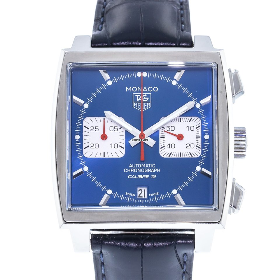 TAG Heuer Monaco CAW2111 Watch with Leather Bracelet and Stainless Steel  Bezel
