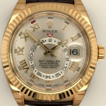 Rolex Yellow gold Automatic Silver Roman numerals 42mm new Sky-Dweller