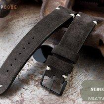 MiLTAT 21mm Brown Nubuck Watch Strap, Bege St. PVD