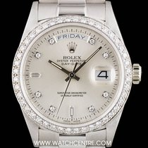 Rolex 18k White Gold Silver Diamond Dial Day-Date Gents 18049