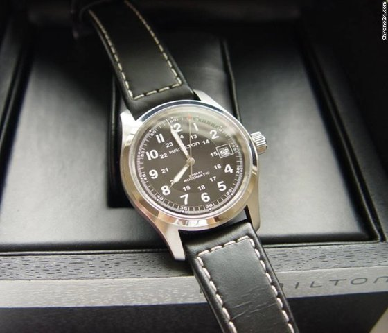98ba35a9a7f Hamilton KHAKI FIELD AUTO Black Dial & Leather Strap 38mm for $487 for sale  from a Trusted Seller on Chrono24