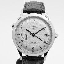 Zenith Elite Dual Time Steel 39mm Grey Arabic numerals
