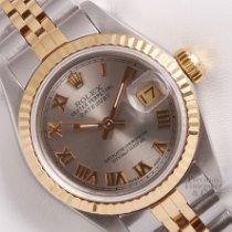 Rolex Lady-Datejust новые 1985 Автоподзавод Часы с оригинальной коробкой Rolex Lady Datejust Two Tone 26mm-Gray Roman Dial-18k Fluted
