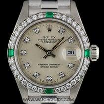 勞力士 (Rolex) 18k White Gold Diamond & Emerald Set Datejust...