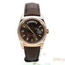 Rolex Day-Date 36 18 kt Everose-Gold Leder 118135 Choco