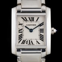 Cartier 18k White Gold SIlver Dial Tank Francaise Ladies W50012S3