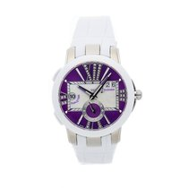 Ulysse Nardin Executive Dual Time Lady pre-owned 40mm Purple Date GMT Crocodile skin