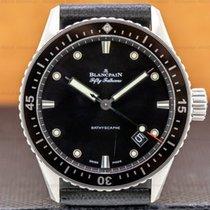 Blancpain Fifty Fathoms Bathyscaphe gebraucht 43mm Grau Datum Leder
