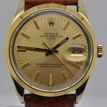 Rolex Date 34mm 14kt Gold Shell Champagne Dial 3035 15505