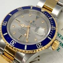 Rolex Submariner Date Goud/Staal 40mm Zilver Geen cijfers