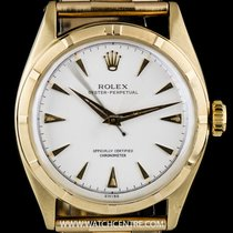 Rolex Vintage Gold Silver Dial Bubbleback Oyster Perpetual 6085
