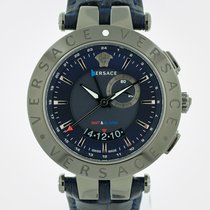 Versace Steel Quartz Blue 46mm new