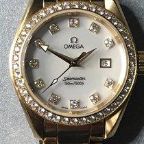 Omega Yellow gold Quartz Mother of pearl No numerals 29mm pre-owned Seamaster Aqua Terra