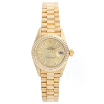 Rolex Lady-Datejust Geelgoud 26mm Champagne Geen cijfers