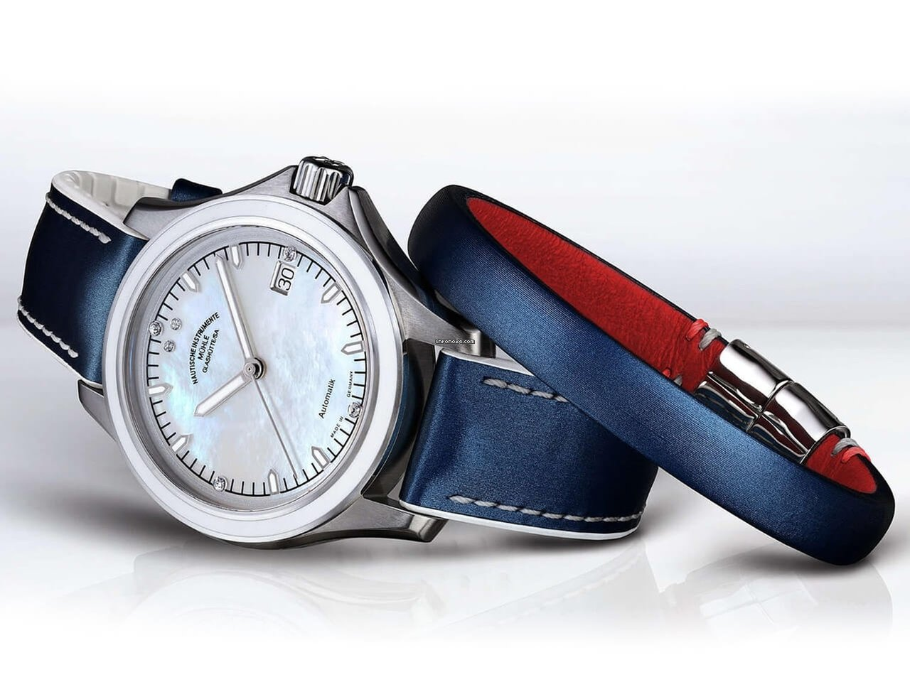Datum Lederband Blau Mühle Helgacup Lady Promare Weiß Glashütte Sonderedition Damenuhr Rot FKJl1Tuc35