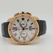 까르띠에 핑크골드 자동 은색 로마숫자 42mm 중고시계 칼리브 드 까르띠에 크로노그래프
