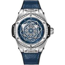 Hublot Steel Automatic Blue No numerals 39mm new Big Bang Sang Bleu