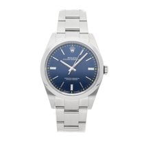 Rolex Oyster Perpetual 39 pre-owned 39mm Blue Fold clasp