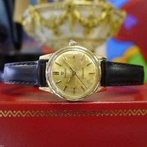 Omega Ladymatic Automatic Gold Dial Watch On Leather Strap