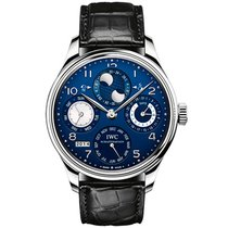 IWC 44.2mm Automatic 2015 pre-owned Portuguese Perpetual Calendar Blue