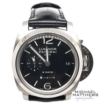 Panerai Luminor 1950 8 Days GMT pre-owned 44mm Black Date GMT Rubber