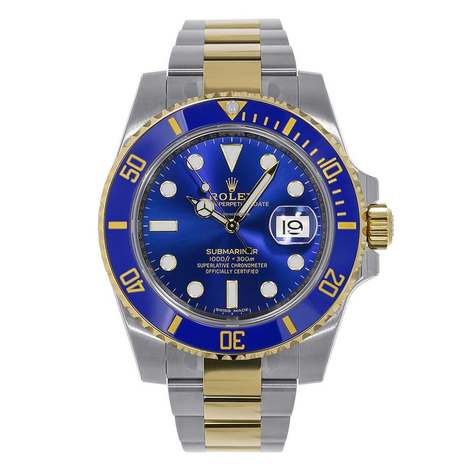 Rolex submariner steel 18k yellow gold blue ceramic 116613 for 12 699 for sale from a trusted for Submariner rolex blue