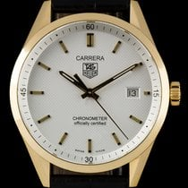 TAG Heuer 18k Yellow Gold White Baton Dial Carrera B&P WV5140