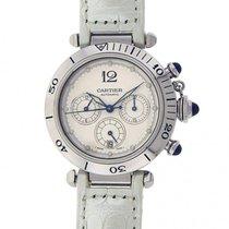 Cartier Pasha W31030H3 Stainless Steel White Leather Chronogra...