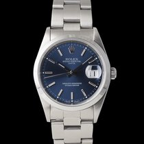 Rolex 34mm Automatic 1990 pre-owned Oyster Perpetual Date Blue