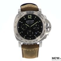 Panerai Luminor Chrono tweedehands 44mm Zwart Chronograaf Datum Leer