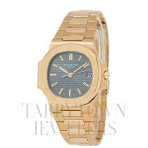 Patek Philippe Yellow gold Automatic Blue 37.6mm pre-owned Nautilus