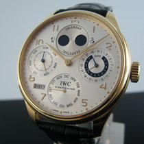 IWC Yellow gold Automatic Silver Arabic numerals 44,2mm pre-owned Portuguese Perpetual Calendar