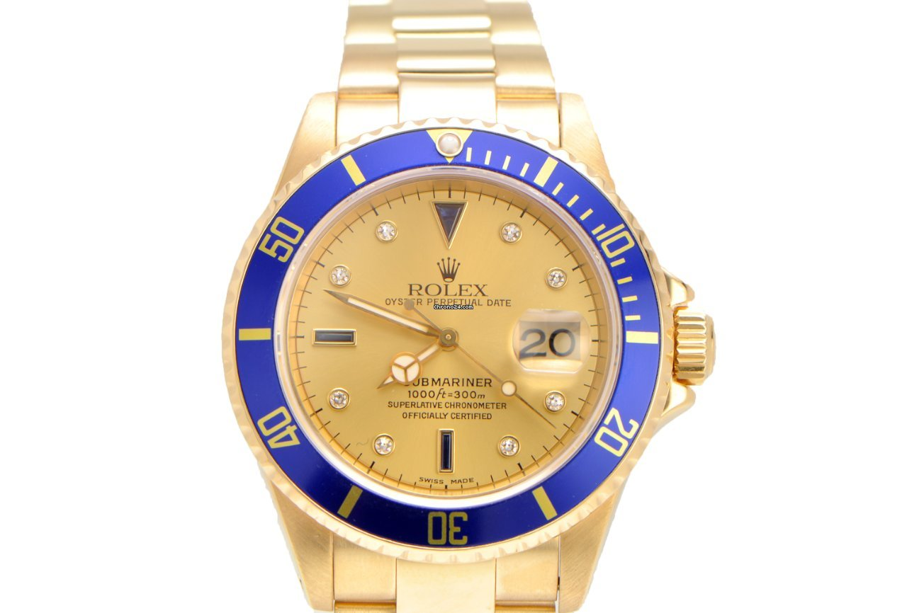 Rolex Submariner 18k Yellow Gold with Serti Diamond Dial ...