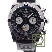 Breitling Chronomat 44 GMT Chronograph Black Dial Rubber Strap...