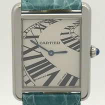 Cartier Tank Solo Piano Dial On Teal Alligator Strap Quartz Watch