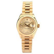 Rolex Yellow gold Automatic Gold Roman numerals 28mm pre-owned Lady-Datejust