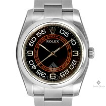 Rolex Oyster Perpetual Stainless Steel Black Orange Arabic...