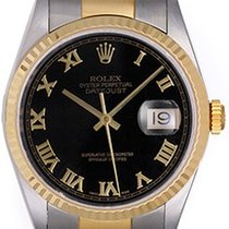 Rolex Datejust Steel & Gold Men's 2-Tone Watch 16233 Black...