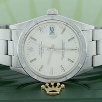 Rolex Oyster Perpetual Date Silver Stick Dial 34mm Steel Watch...