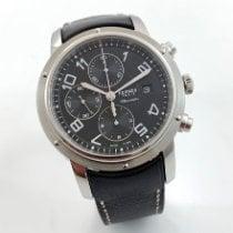 Hermès Clipper Stahl 44mm Schwarz Arabisch