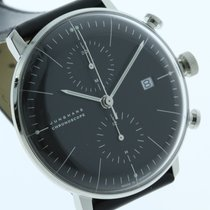 Junghans max bill Chronoscope Stal 40mm Czarny Bez cyfr