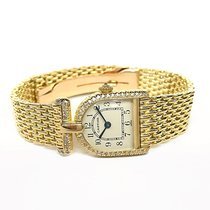 Cartier Calandre  18k Yellow Gold Quartz Diamond Bezel Ladies...