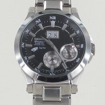 Seiko Premier Kinetic Perpetual Steel 43mm Grey
