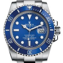 Rolex Submariner Blue Index Dial 18k White Gold 116619LB